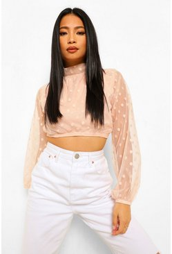 Nude Petite Spot Mesh High Neck Puff Sleeve Bodysuit