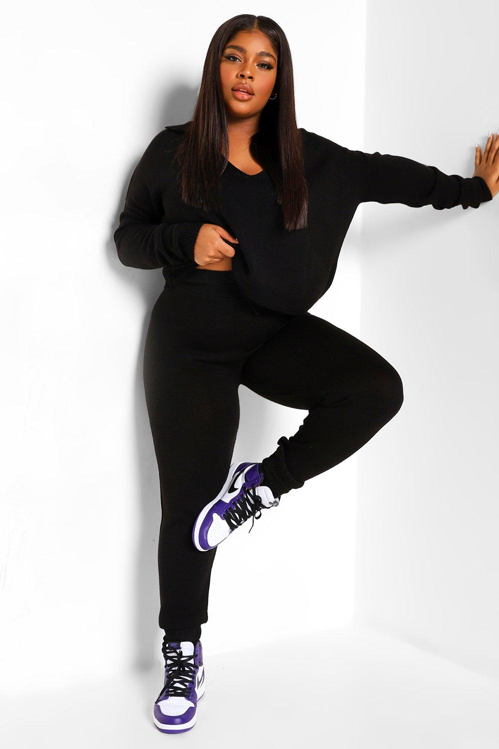 Plus Collar Sweater And Jogger Lounge Set 8