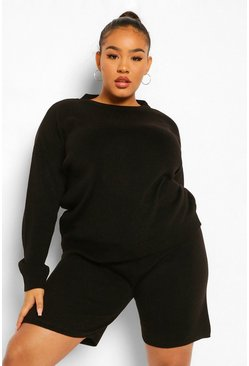 Black Plus Crew Neck Top And Short Set