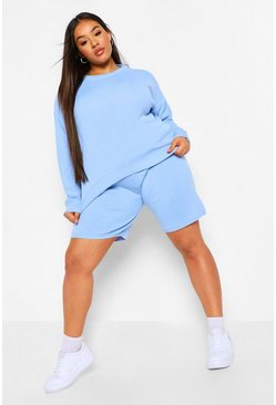 Blue Plus Crew NeckTop And Short Set