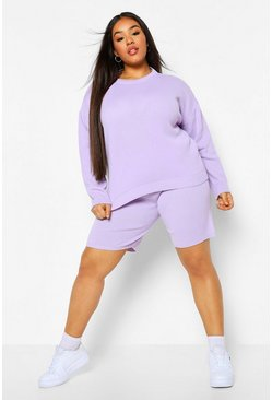 Lilac purple Plus Crew Neck Top And Short Set