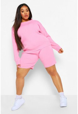 Pink Plus Crew Neck Top And Short Set