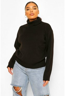Black Plus Roll Neck Knitted Jumper