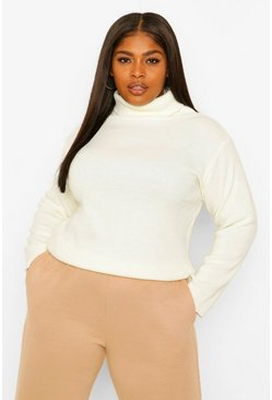 Cream white Plus Roll Neck Knitted Jumper