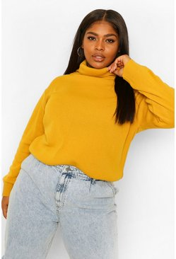 Mustard yellow Plus Roll Neck Knitted Jumper