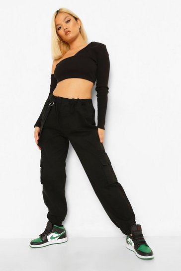 Black Petite Utility Pocket Denim Joggers