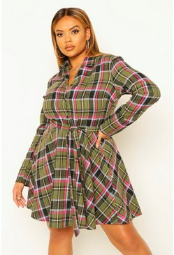 Green Plus Check Tie Waist Shirt Skater Dress
