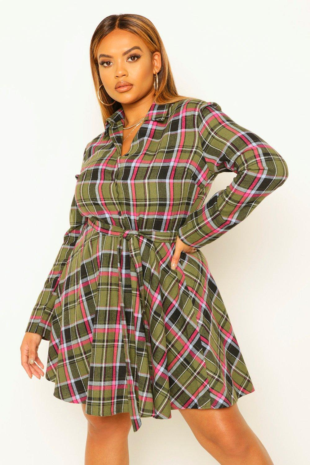 Plus Check Tie Waist Shirt Skater Dress 16