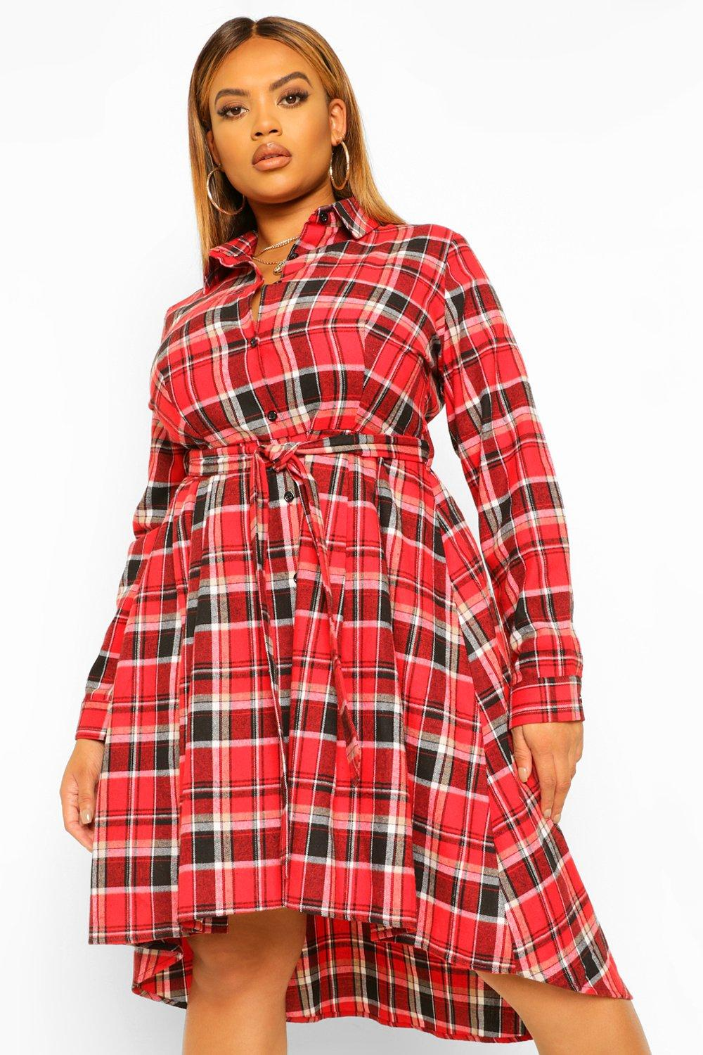 Plus Check Wrap Belted Shirt Dip Hem Midi Dress 13