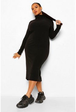 Black Plus Soft Rib Roll  Neck Midi Dress