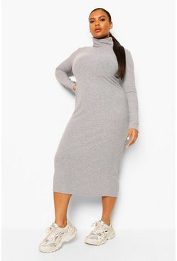 Grey marl grey Plus Soft Rib Roll  Neck Midi Dress