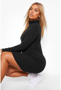 Plus Soft Rib Roll Neck Dress, Black Чёрный