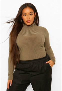Plus Soft Rib Roll Neck Jumper , Khaki caqui
