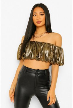 Gold metallic Petite Metallic Crop Top Met Ruches En Open Schouders
