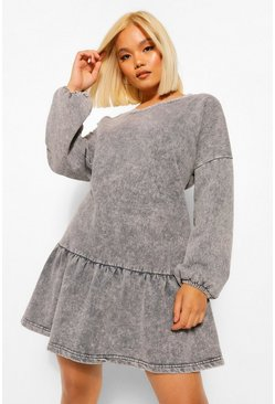 Grey Petite Acid Wash Frill Hem Sweat Dress