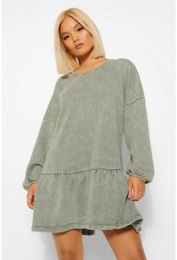 Khaki Petite Acid Wash Frill Hem Sweat Dress