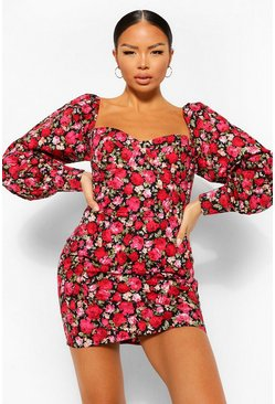 Floral Petite Corset Style Puff Sleeve Mini Dress