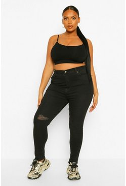 Black Plus Rip Knee Distressed High Waist Skinny Jeans