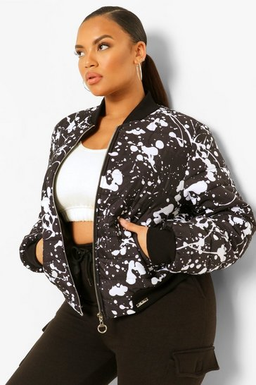 Black Plus Splash Print Puffer Bomber Jacket