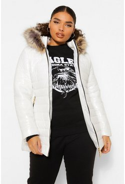 White Plus High Shine Quilted Faux Fur Trim Puffer Parka