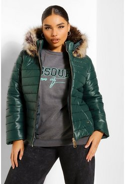 Dark green green Plus Quilted Faux Fur Trim Puffer Jacket