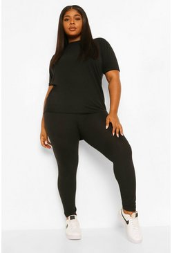 Black Plus Soft Rib Dipped Hem Lounge Set