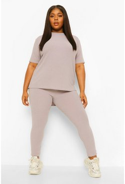 Grey Plus Soft Rib Dipped Hem Lounge Set