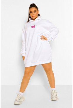 White Plus Butterfly Hooded Sweat Dress