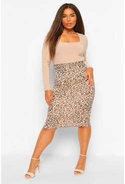 Tan brown Plus Leopard Bodycon Midi Skirt