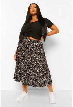 Black Plus Ditsy Floral Midi Skater Skirt