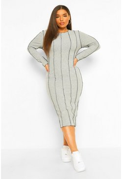 Grey marl grey Plus Seam Rib Midi Bodycon Dress