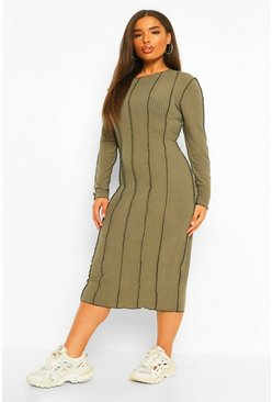 Khaki Plus Seam Rib Midi Bodycon Dress