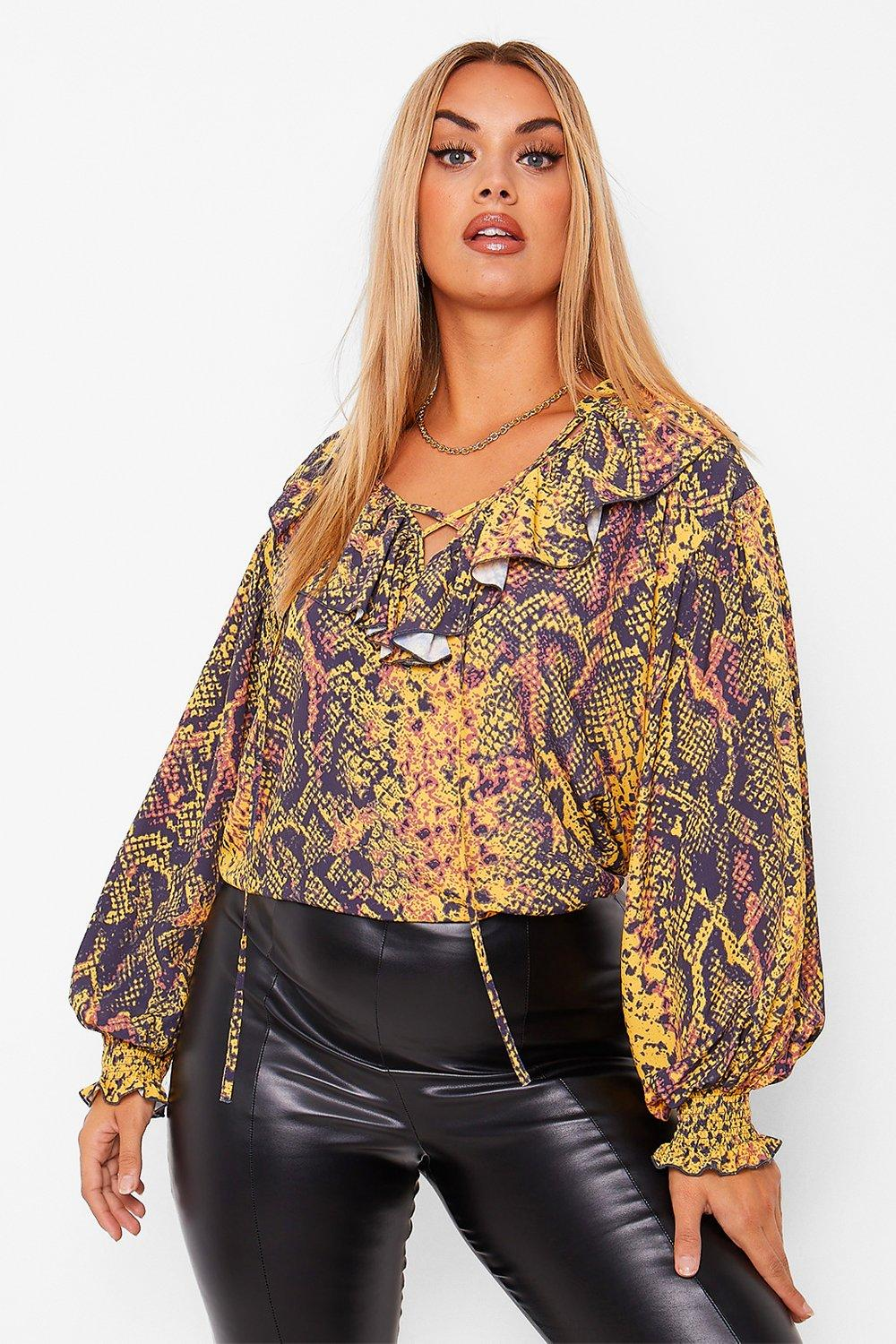Plus Snake Print Shirred Sleeve Ruffle Front Top 8