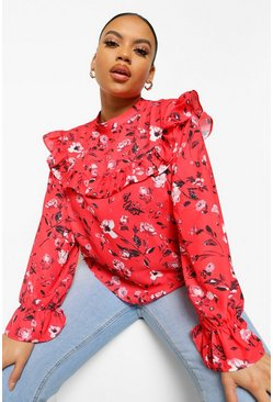 Red Plus Floral Tiered Smock Top