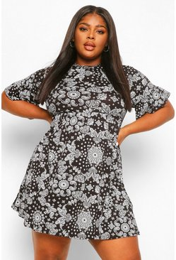 Black Plus Bandana Print Smock Dress