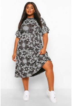 Plus Bandana Print Midi Dress, Black noir