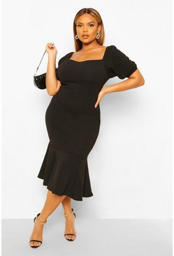 Black Plus Puff Sleeve Peplum Hem Midi Dress
