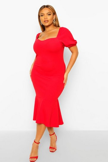 Red Plus Puff Sleeve Peplum Hem Midi Dress