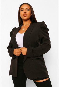 Black Plus Puff Sleeve Ruched Sleeve Blazer
