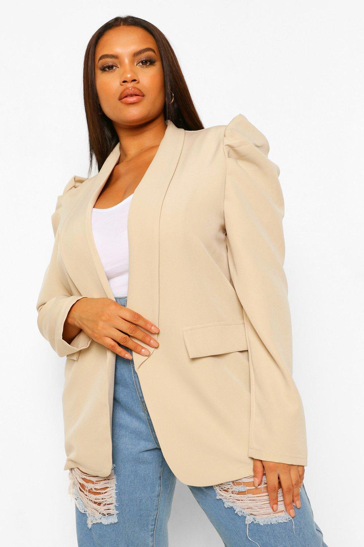 COATS & JACKETS Plus Puff Sleeve Ruched Sleeve Blazer