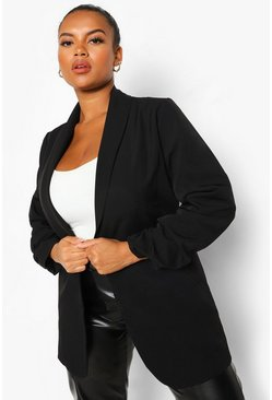 Black Plus Heavyweight Ruched Sleeve Blazer