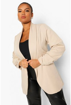 Stone Plus Heavyweight Ruched Sleeve Blazer