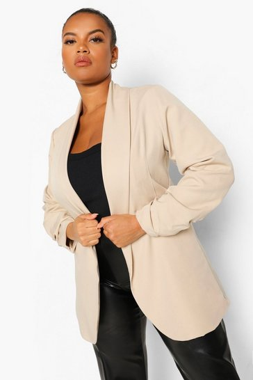 Stone beige Plus Heavyweight Ruched Sleeve Blazer