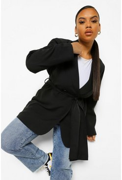 Black Plus Wide Wrap Belt Blazer