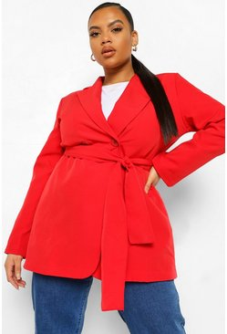 Red Plus Wide Wrap Belt Blazer
