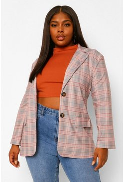Blush pink Plus Check Pocket Front Blazer