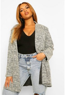Black Plus Stretch Boucle Boyfriend Blazer