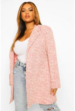 Pink Plus Stretch Boucle Boyfriend Blazer