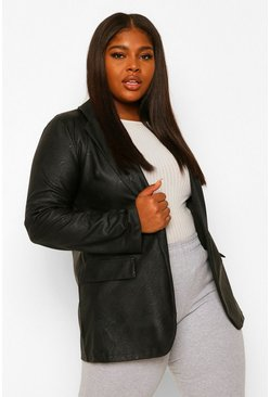 Black Plus Leather Look Blazer