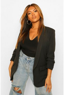 Black Plus Ruched Sleeve Skinny Lapel Blazer